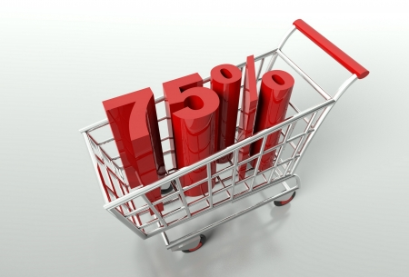 seventy: Shopping cart and red seventy five percent discount, sale concept