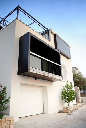 Modern architecture exterior detail, white and clean, Croatia