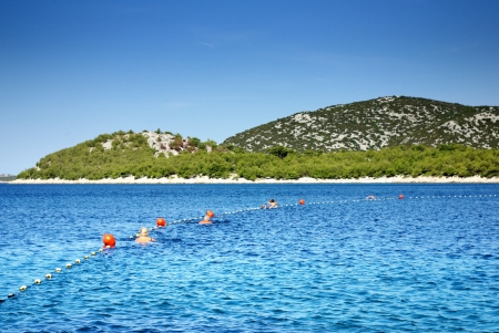buoys: People swimming with buoys in a clean, warm sea, Croatia Dalmatia Tribunj