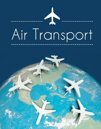 Air transport concept, airplanes on globe Stock Photo