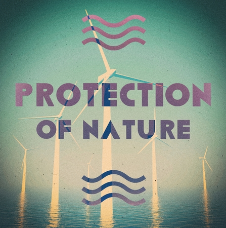 Ecological wind farm grunge vintage poster photo