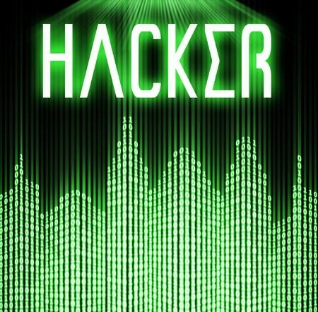 cyber terrorism: Hacker with cyber binary code technology background