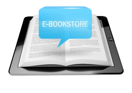 E-bookstore icon button above ebook reader tablet with text Stock Photo - 25548569