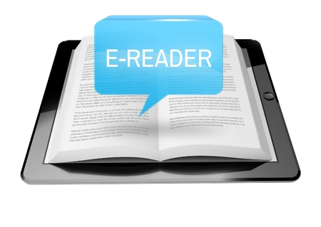 E-reader icon button above ebook reader tablet with text Stock Photo - 25548576