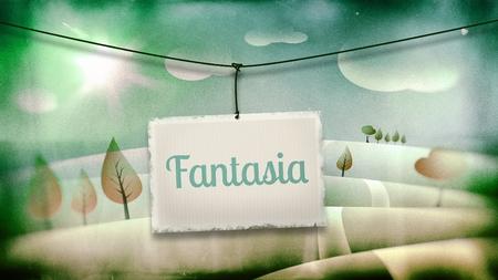 fantasia: Fantasia, vintage children illustration with fantasy landscape