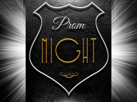 prom: Prom night sign on black leather