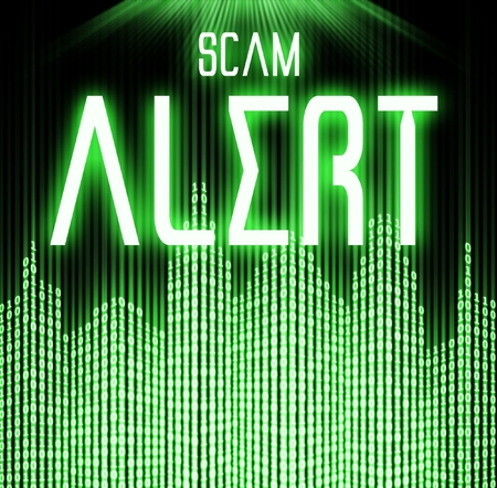 scam: Scam alert with cyber binary code technology