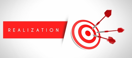 realization: Business realization, concept of success with arrows