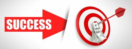 Business success concept, arrow with money photo