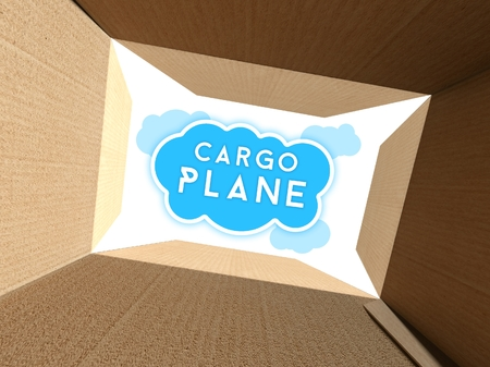Cargo plane on sky seen from interior of cardboard box photo