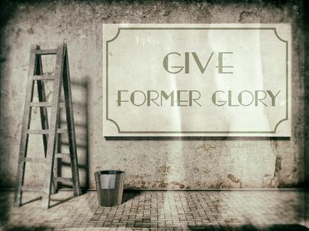 reparations: Dale antigua gloria en el muro antiguo edificio de estilo vintage