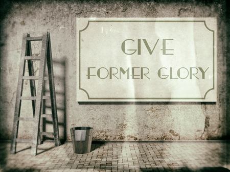 Give former glory on old building wall in vintage style photo