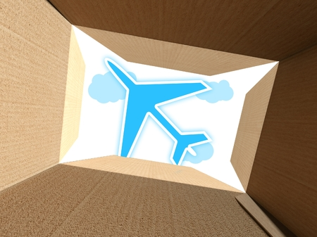 Plane on sky seen from interior of cardboard box photo