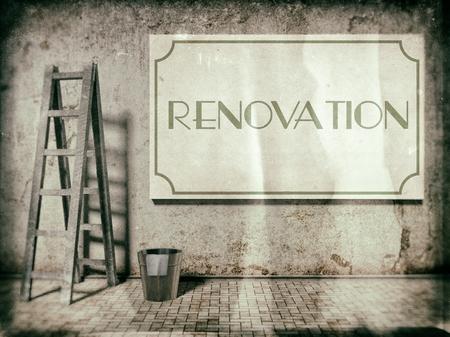 Rénovation sur la construction de vieux mur, temps de rénovation Banque d'images - 25548713