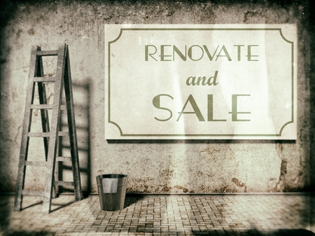 reparations: Renovate and sale, real estate business concept in vintage style