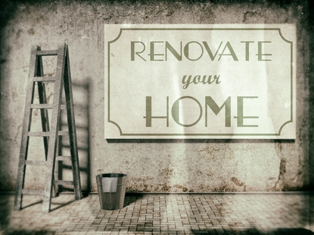 refurbishment: Renovate your home on building wall, Time to Refurbishment Stock Photo
