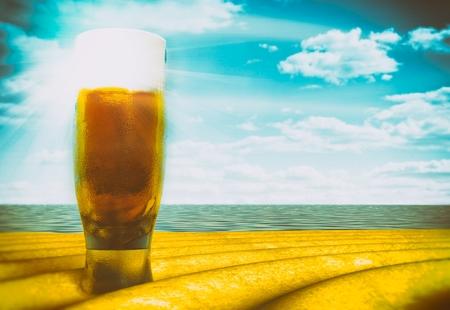 Beer glass on beach sunny day, vintage style illustration illustration