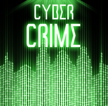 cyber crime: Cyber crime with matrix binary code technology  Stock Photo