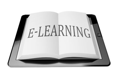E-learning with ebook in digital tablet computer, mobile reading concept Stock Photo - 25548812