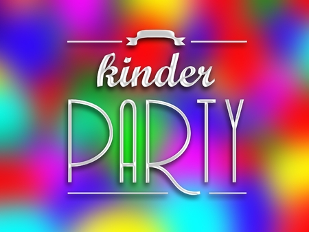 kinder: Kinder party invitation poster, colorful abstract backround