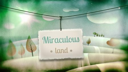 Miraculous land, vintage children illustration with fantasy landscape illustration