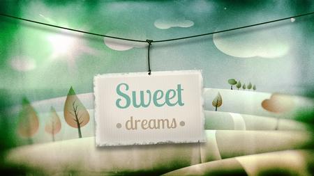 vintage children: Sweet dreams, vintage children illustration with fantasy landscape