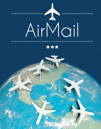 Airmail concept, airplanes on globe