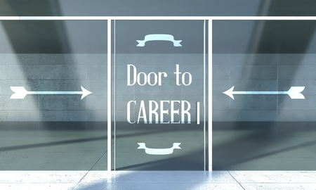 Door to career sign on front door concept photo