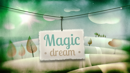 vintage children: Magic dream, vintage children illustration with fantasy landscape