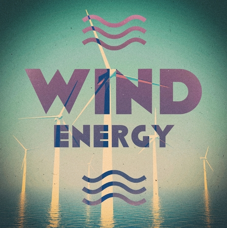Wind energy grunge, vintage poster photo