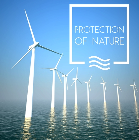 Wind turbine on sea: Generating green energy photo