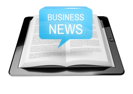Business news icon button above ebook reader tablet with text Stock Photo - 25598790