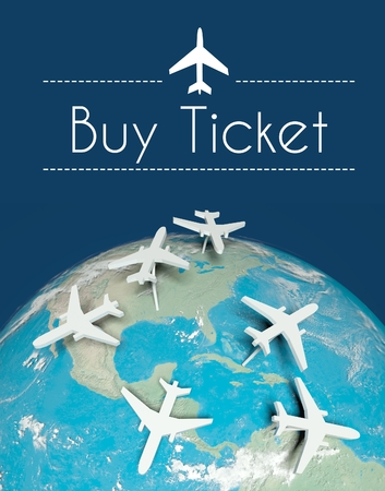 Buy ticket air travel concept, airplanes on globe photo