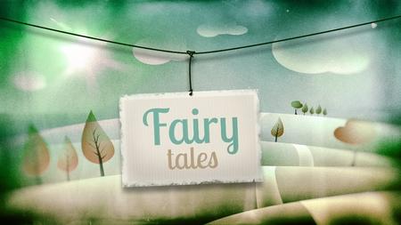 Fairy tales, vintage children illustration with fantasy landscape illustration