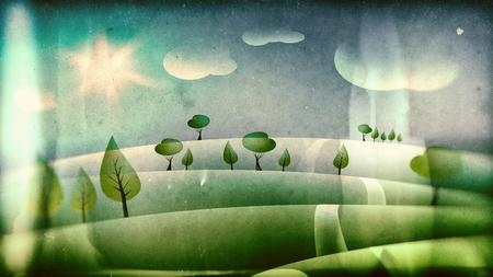 Vintage children illustration, landscape with road and sky illustration