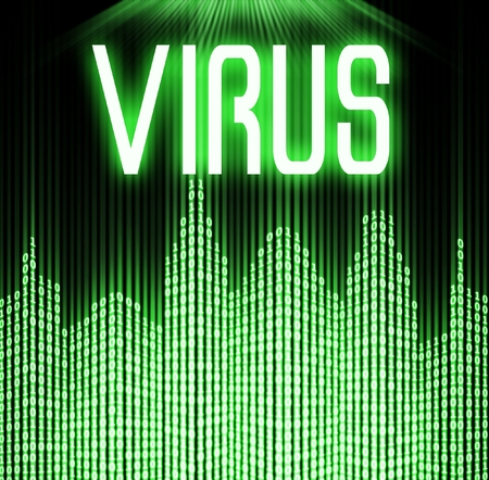 Virus with cyber binary code technology background photo