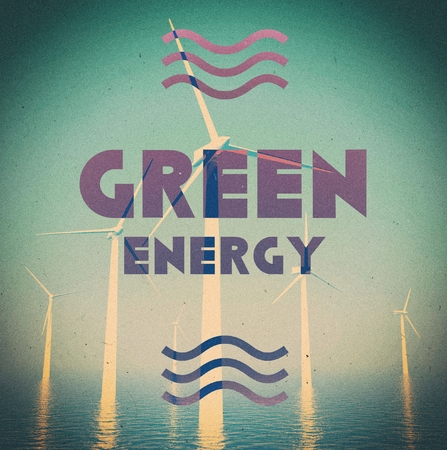 Wind farm green energy grunge, vintage poster photo