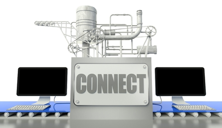 Connect net concept with computers and machine photo