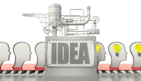 Idea concept with glowing light bulbs in peoples minds photo
