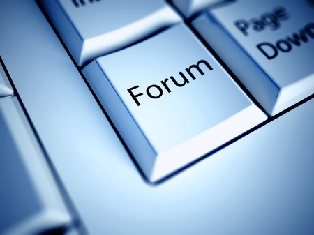 Keyboard with Forum button, internet concept photo