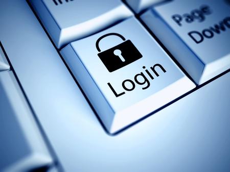 login button: Keyboard with Login button, internet concept
