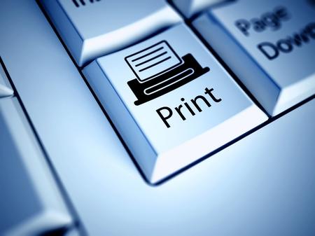 Teclado con el botón Imprimir, concepto