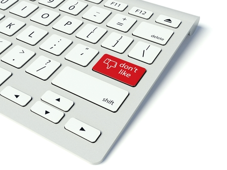not confirm: Keyboard with red Like button, social network concept Stock Photo