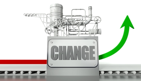 directive: Change concept with graph and machine Stock Photo