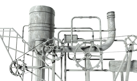 Complex machine with gears and pipes on white background photo