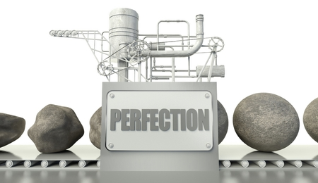 imperfection: Concept with imperfection and perfection in machine