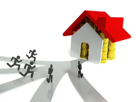 Demand for houses on property market, concept of loan photo