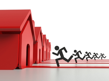 on demand: Demand for houses on property market, business concept Stock Photo