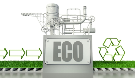 Eco concept with recycle symbol and arrow signs photo
