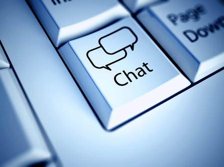 Keyboard with Chat button, internet concept photo